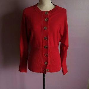 Anne Klein Red Big Button Knit Cardigan Sweater